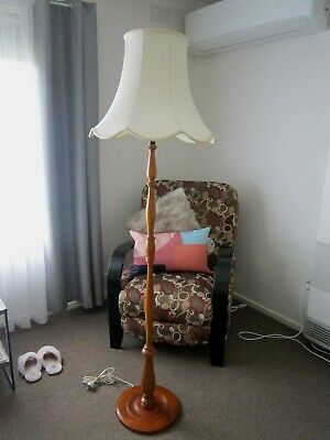 Vintage Retro Timber Teak Standard Floor Lamp with Ivory Shade