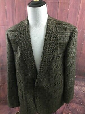Polo Ralph Lauren Mens University Club Wool Jacket Blazer SZ 46T Houndstooth