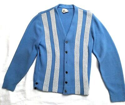 Vintage 60s Rinardo Blue Striped Knit Cardigan Sweater Retro Jumper Mens Small