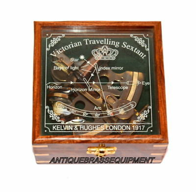 Marine Collectible Brass Working German Nautical Sextant With Wooden Box