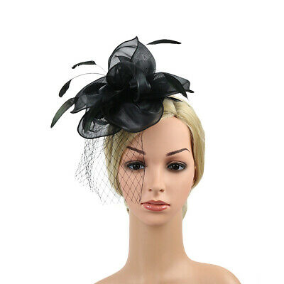 Women Hair Clip Wedding Headband Fascinator Hat Church Vintage Feathers Organza