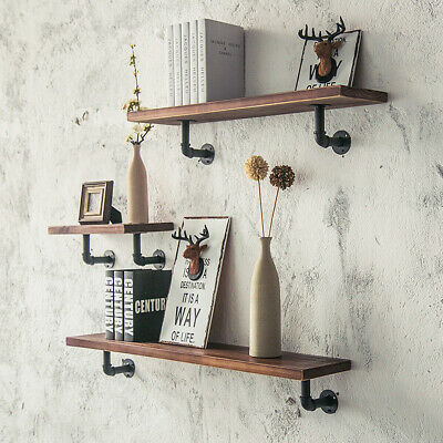 Industrial Iron Pipe Wooden Floating Wall Shelf Vintage Storage Shelving Unit