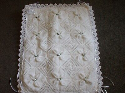Hand Knitted Baby Blanket With Broderie Fabric On Back And Wadding In Middle