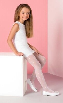 Patterned Transparent Sheer White Flower Girl Tights Liza By Gabriella