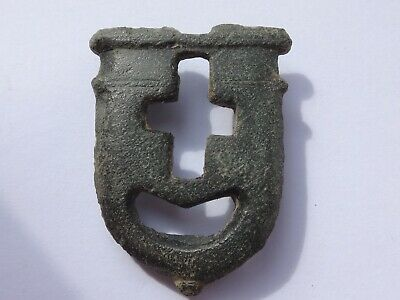 ANCIENT BRONZE BUCKLE THEATRICAL MASK SHAPE BYZANTINE  g/  m