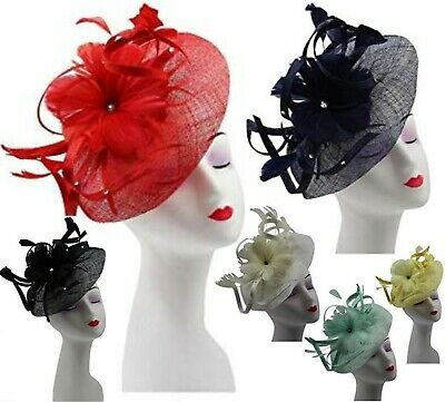 Elegant Sinamay Studded Flower Feather Headband Fascinator Hair Band Race Royal