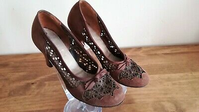 True vintage made in USA WW2 1940's / 40s Brown Suede & Lace Shoes UK3.5/UK4