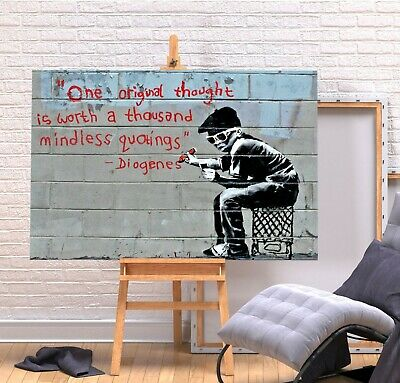 Banksy Original Thought Quote - Deep Framed Canvas Wall Art Graffiti  Print- Red