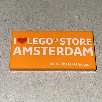 LEGO I Love LEGO Store Amsterdam 2 x 4 Printed Tile NEW Hard to Find
