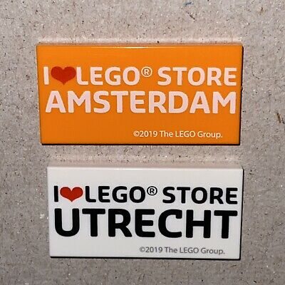 LEGO I Love LEGO Store Amsterdam and Utrecht 2 x 4 Printed Tile NEW Hard to Find