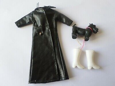 Topper Dawn Palitoy Pippa doll clone outfit black leatherette coat boots & dog