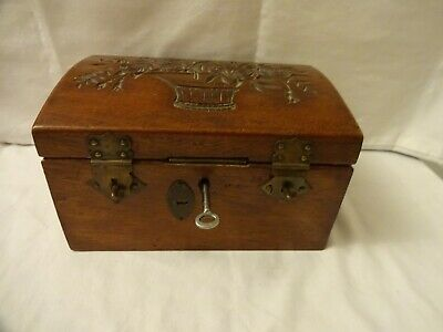 Vintage Hand Carved Wooden Dome Top Treasure Chest Jewelry/Trinket Box