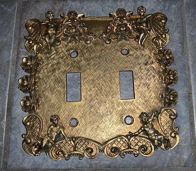 Vintage FLORENTA OF CALIF Brass ? SWITCH PLATE COVER with CHERUBS & FLOWERS
