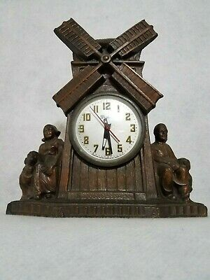 Vintage Gibraltar Electric Mantle Clock  -  Dutch Windmill