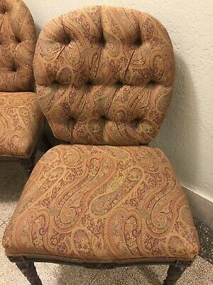 Pair Vintage Upholstered Side Chairs w/tufted backs. Carved legs - great looking