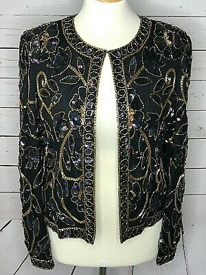 Papell Boutique Evening small jacket black gold beaded sequins 100% silk formal