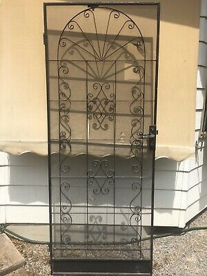 Vintage Wrought Iron Frame Screen Flywire Security Door