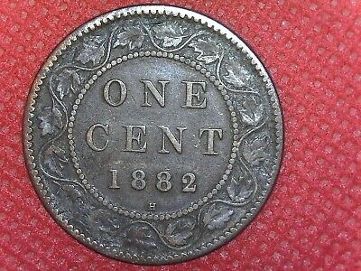 1882 H Copper Canadian Large Cent Coin 1-Cent Canada
