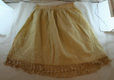 Antique 19th Century Victorian Child's Off White Linen & Lace Petticoat Skirt