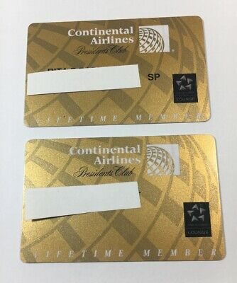 2 Expired Continental Airlines Presidents Club Cards His And Hers Lifetime(7094)