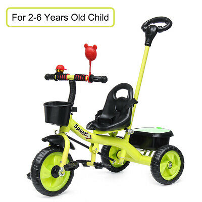 3 Wheel Kids Children Baby Ride On Tricycle Bike Stroller Toddler Trike Green