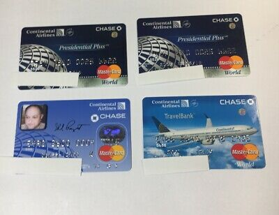 4 Expired Credit Cards For Collectors - Cont. Airlines Chase Mastercard (7103)