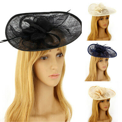 Peacock Flower Feathers Head Clip Hair Hat Fascinator Wedding Races Royal Ascot