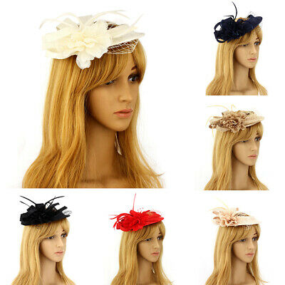 Peacock Feathers Head Clip Hair Flower Mesh Hat Fascinator Wedding Race Royal