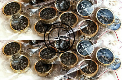 Antique Polished Lot Of 100 Pc Brass Compass Necklace Style Nautical Pocket Gift