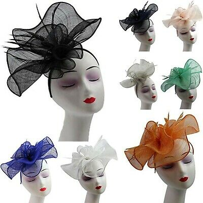 Large Sinamay Flower Headband Hat Fascinator Wedding Day Races Feather Hair Band