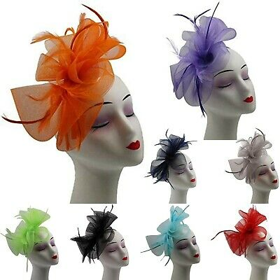 New Womens Feather Looped Fascinator Headband Alice Band Day Wedding Royal Ascot