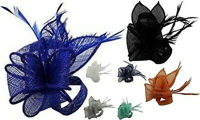 Brooch Feather Clip Hat Fascinator Headband Alice Band Wedding Day Royal Ascot
