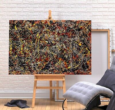 Jackson Pollock 5 - Red Yellow Colourful Framed Canvas Wall Art Picture Print