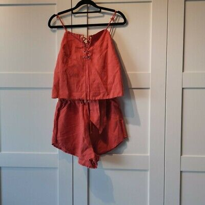 Sabo Skirt 2 Piece Top And Shorts Set Rust Orange Size Xs