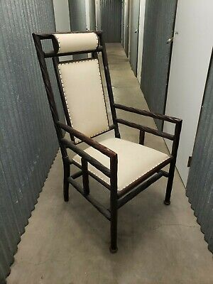 George Hunzinger Wooden Straight Back Arm Chair Circa 1860 thru 1870