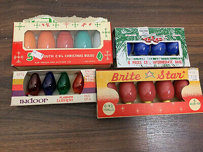 New Old Stock Vintage Christmas Replacement Bulbs Brite Star Liberty Bell