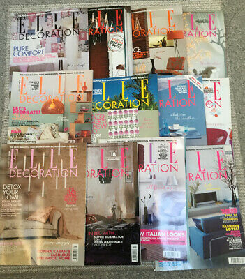 Elle Decoration 2003 Magazine 12 Issues In Excellent Condition.