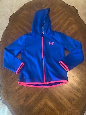 Under Armour Girl Jacket Size 6 Blue Pink Trim Hooded Zipper Front