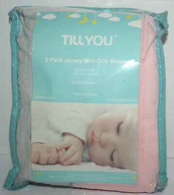 TILLYOU Jersey Knit Mini Crib Sheets - 2pk Pink and Gray