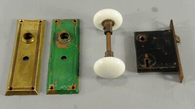 Vintage Mortise Lock Set with Matching Wht Porcelain Knobs and Brass Face Plates