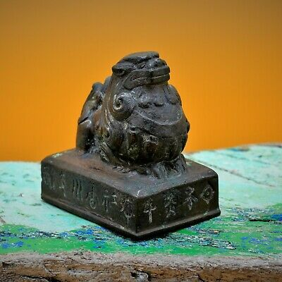 👁️👁️ UNUSUAL Fine Chinese Antique, BRONZE Scroll Weight BUDDHIST LION Creature