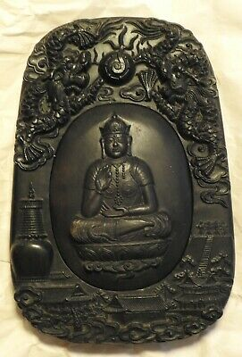 Large Vintage Hand Carved Chinese Ink Stone Black Rock W/ Dragon & Buhda Carving