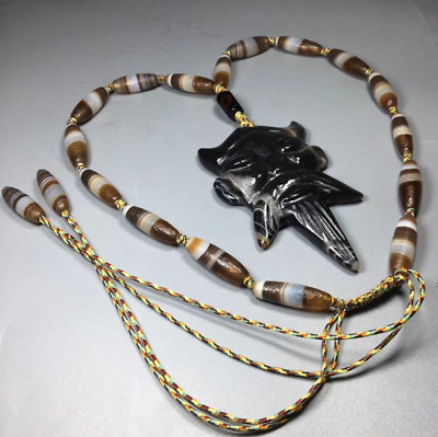 West Asia millennium Natural weathering Oily old agate Buddha brand necklace