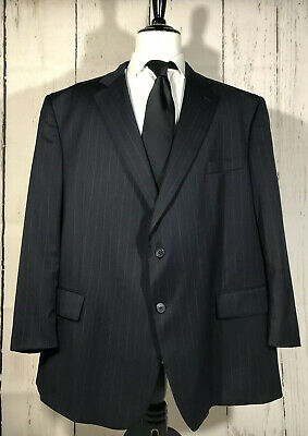 Jos A Bank Men's 56R Two Button Suit Jacket Sport Coat Navy Blue Pinstriped Wool