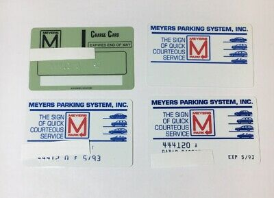 4 Vintage Expired Credit Cards For Collectors -  Parking Lot Theme Rare (7120)