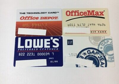 4 Vintage Expired Credit Cards For Collectors -  Retail Theme Lot (7121)