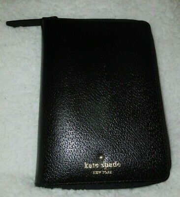 Kate Spade Zip Around Grand Street Black Leather Planner Organizer