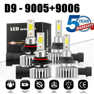 4x 9005 9006 LED Headlight Kit 3200W 430000LM Hi/Lo Beam CREE Bulbs 6000K White