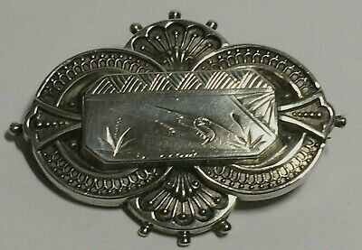 Antique Victorian Large Solid Silver Chinoiserie Brooch. Birm 1881, 5.47.Grams.