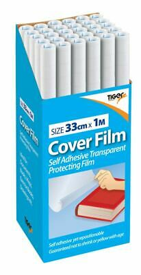 Self Adhesive Book Film 33cm x 1m Cover High Quality Clear Plastic Sticky Back